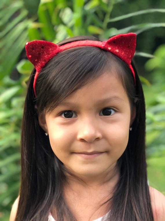 Red Sequin Cat Ears Headband,  Red Ears Headband, Red Sequin Cat Ears,  Red Cat Ears, Ears Headband, Girls Headband, Cat Headband