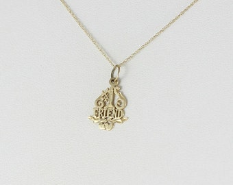 14k Yellow Gold Number One Friend Necklace