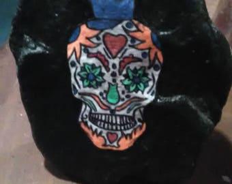 Hand painted rock: Sugar skull