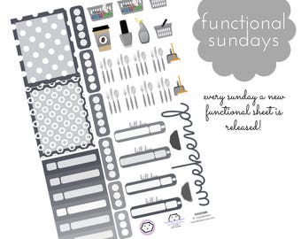 Functional Sticker Sheets, EC Stickers, Functional Stickers, Bujo Stickers, Weekly EC Stickers, Matte Stickers, Icon Stickers [FUNSUN#6]
