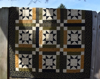 "Beautiful Lap Sized Quilt with Logs and Stars from the New Hope Collection by Jo Morton  48"" x 48"""