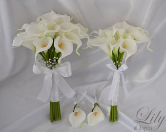 """Bride/MoH Bouquets Groom/Best man Boutonnieres Wedding Bridal Bouquet Real Touch Calla Lily White - More Colors""""Lily of Angeles"""" CAIV03"""