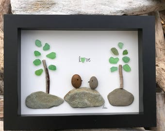 Sea Glass Art by lieu, Pebble art, Driftwood Art, Beach Home Decor, LOVE Birds
