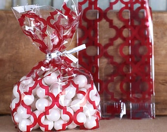 Christmas Cookie Bags, Tile Print Red Cellophane Bags & Twist Ties, Valentines Day Candy Bags, Red Favor Bags, Candy Buffet Bags, Sweet Bags