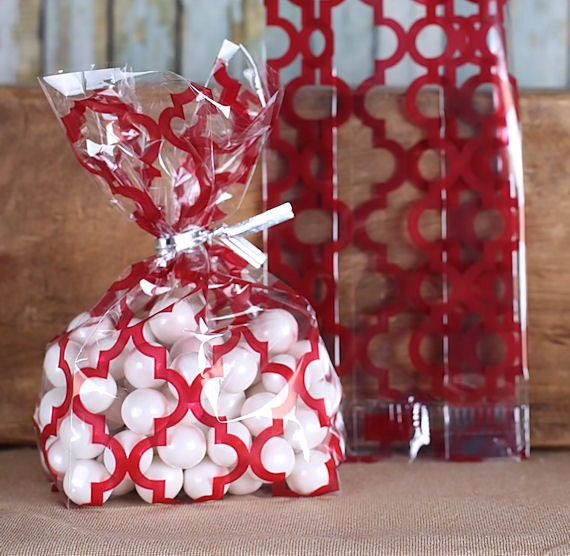 Tile Print Red Cellophane Bags & Twist Ties
