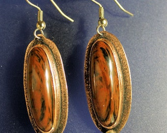 Mixed Metal Earrings Copper Silver Bead Mahogany Obsidian Handcrafted