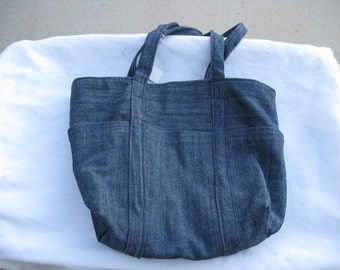 Demin Tote Bag  With Pockets