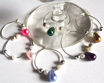 Wine glass or coffee cup markers, silver with pearl drops