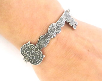 Steampunk Key Bracelet Sterling Silver Ox Finish Large Ornate Key