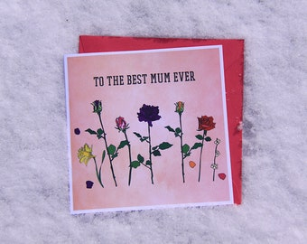 To the best mum ever - Flowers Mother's Day Card Hand drawn