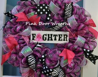 Breast Cancer Wreath Door SURVIVOR Awareness Fighter Ribbon black pink white mesh ribbons custom