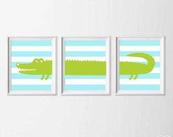 Boy Nursery Art, Safari Alligator Nursery Wall Art, Lime Blue Alligator Set of 3, Safari Kids Decor Alligator, Zoo Nursery Alligator Art
