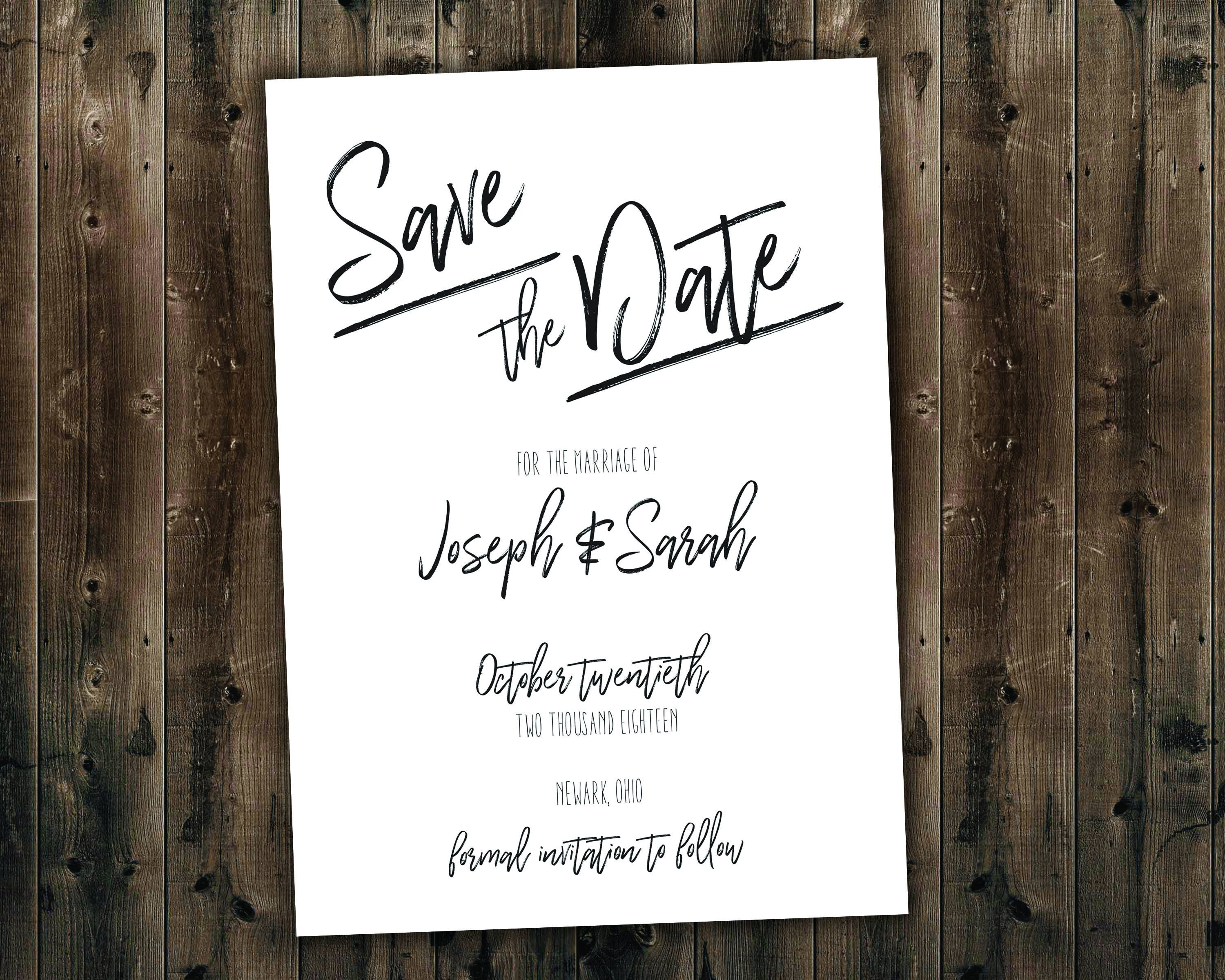 Simple Black and White Wedding Save the Date Set Printed Always and