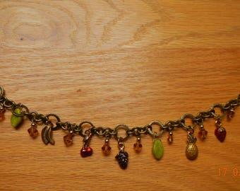 Vintage-look Old-gold Enameled Fruit/Swarovski Crystal Charm Bracelet