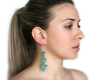 Seed Bead Triangle Earrings, Turquoize earrings, Long earrings, Dangle Earrings, Geometric Earrings