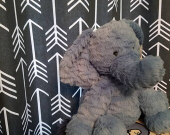 """Gunbarrel Gray lined curtains with white arrows, Nursery lined curtains, 45"""" drapes."""