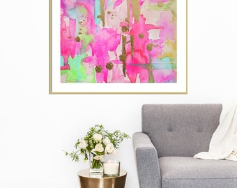 Watercolor Pink Abstract Art Print-Wall Art-Wall Decor-Fine Art-Giclee'-Reproduction-Abstract Painting