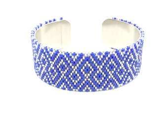 Blue and silver Japanese beadwoven cuff