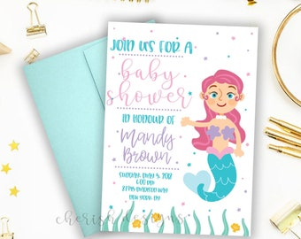 Mermaid Baby Shower Invitation | Digital Invitation | Printable