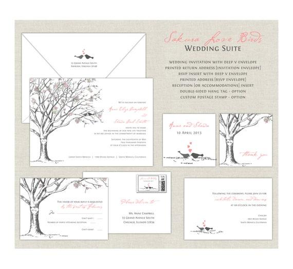 Love Birds Wedding Invitations Elegant Wedding Cherry