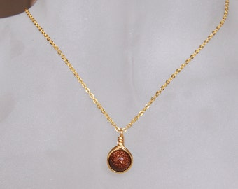 Goldstone Necklace , Fall Necklace , Bridesmaids Necklace , Gold Brown Necklace