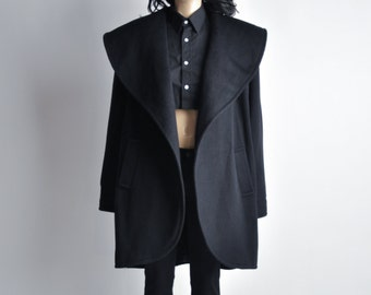 cryptic script wool coat / black minimalist coat / vintage 80s wool coat / s / m / 498o