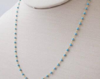 sale 10% off of original price, Blue Turquoise Necklace, Tiny Turquoise Beaded Necklace, tiny turquoise bracelet, layering necklace