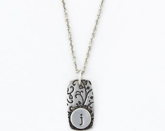 Garden Vines Personalized Necklace - silver initial necklace, monogramed necklace