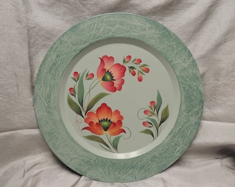 Metal Plate with Strokework Poppies