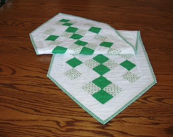 St. Patrick's Day Table Runner, Handmade Quilted, Modern Style Table Linen, Green & White