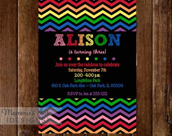 Rainbow Chevron Invitation, Rainbow Chevron Birthday Invitation, Rainbow Party Invitation, Rainbow Invite, Rainbow Birthday Party, DIY