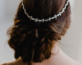 Silver Bridal Headband   Crystal Headpiece   Wedding Headband   Silver Wedding Headpiece   Crystal Bridal Hair Piece   Silver Aria Headband