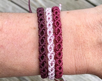 SALE Micro-Macrame Adjustable Bracelet Stack - Eggplant/Pale Pink/Wine