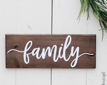 Wooden Family Decor | Rustic Gallery Wall Sign l Dining Room Sign | Rustic Wall Decor | Family Sign
