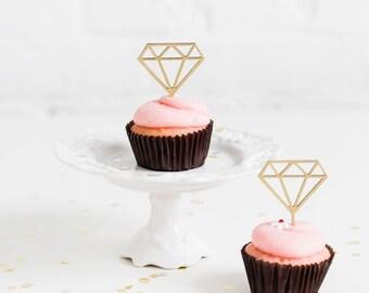 Diamond Cupcake Toppers  // Diamond Topper // Gold Diamond // Silver Diamond // Engagement Party // Wedding Cupcake Topper // Set of 12
