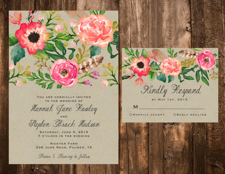 Watercolor Floral Wedding Invitations Floral Wedding