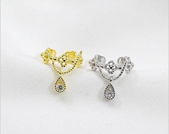 Ear Cuffs, Zirconia Drop Silver Ear Cuffs, 925 Sterling Silver Jewelry, Gold Colour Plated Ear Cuffs, Minimal Cuff Earrings, Gift for her