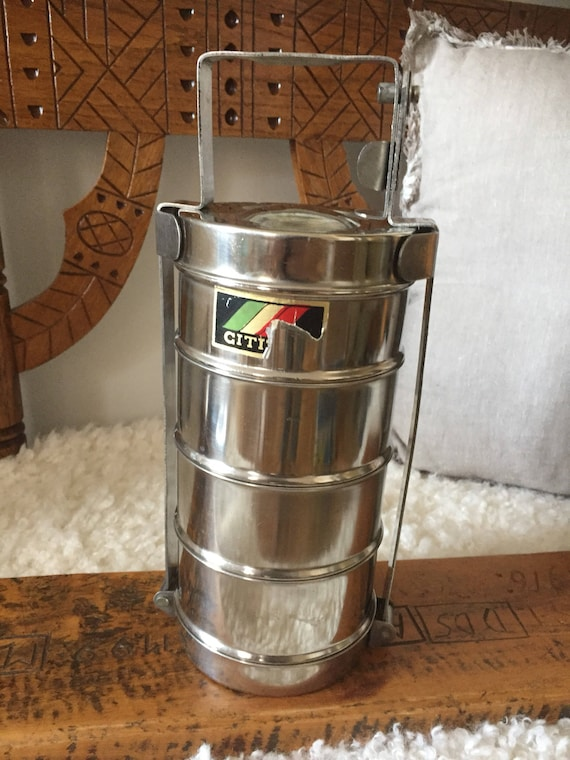 Vintage/stackable/stainless steel/ Lunch pail set/Hungarian/midcentury/modern /Lunch box set/JVM