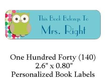 140 Personalized Retro Owl Book Label