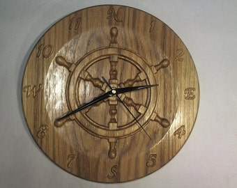 "Solid oak ships wheel 3D wall clock nautical 11"" yacht CNC engraved carved"