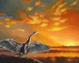 Anhinga painting by RUSTY RUST wildlife bird sunset 30x40 oils on canvas / A-124