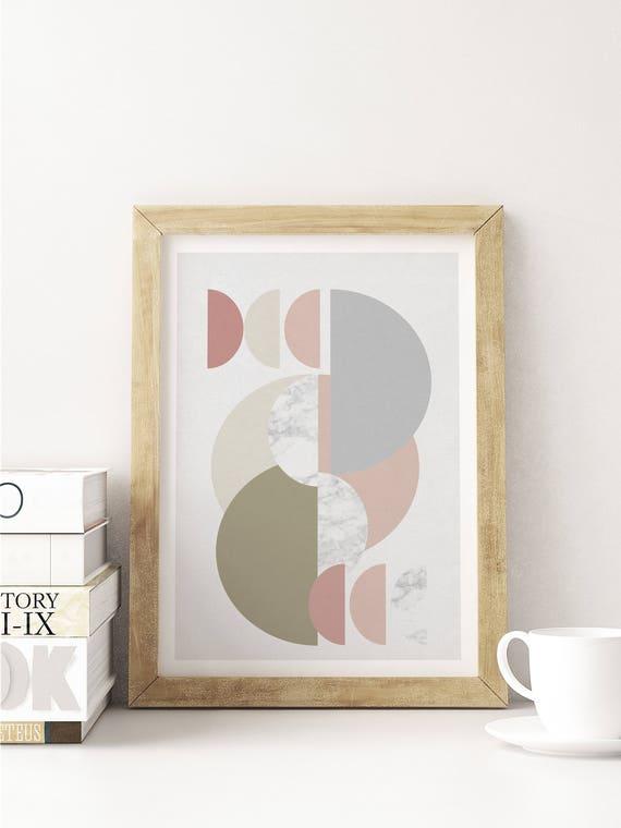multi HAFT CERCLES // poster abstract, 12x18, minimalist art print, geometric print, mid century, Scandinavian style, pink, marble texture
