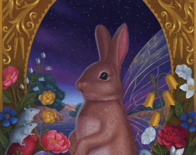 Bunny Fairy Rabbit Night Nature Illustration Art Print
