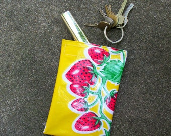 """Mini strawberry oilcloth case, yellow, perfect for essentials, makeup, keys, jewelry, coins. 6.25"""" by 4"""""""
