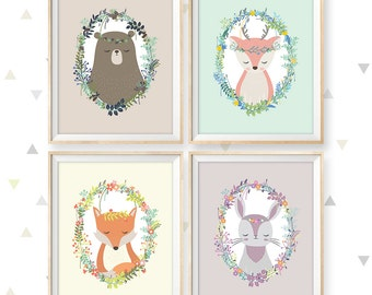 "Woodland nursery art, Set of 4, Instant Download, 11x14"", Deer nursery, Fox nursery, Rabbit nursery, Bear nursery, Animal nursery art"