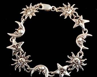 Sun Moon Star Bracelet Silver Celestial Bracelet Celestial Jewelry Sun Jewelry Moon Jewelry Star Jewelry Silver Bracelet