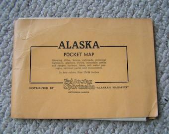 Vintage Alaska Pocket Map---From the 1950's