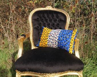 African Print Pillows - African Decor - Ankara Decoration - African Throw Pillow - Gold Cushion - African Decorative Cushion - African Home