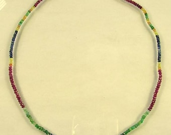 "Emerald, ruby and sapphire faceted rondelle beads AA+ 2.5-3mm 17.8"" strand"