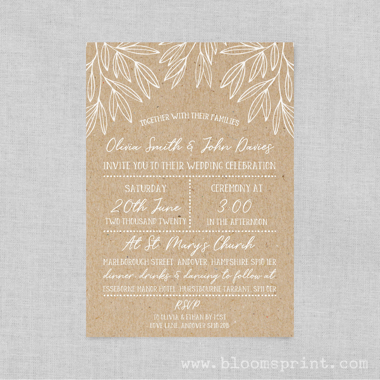 Boho chic wedding invite suite, Chalkboard wedding invitation boho ...
